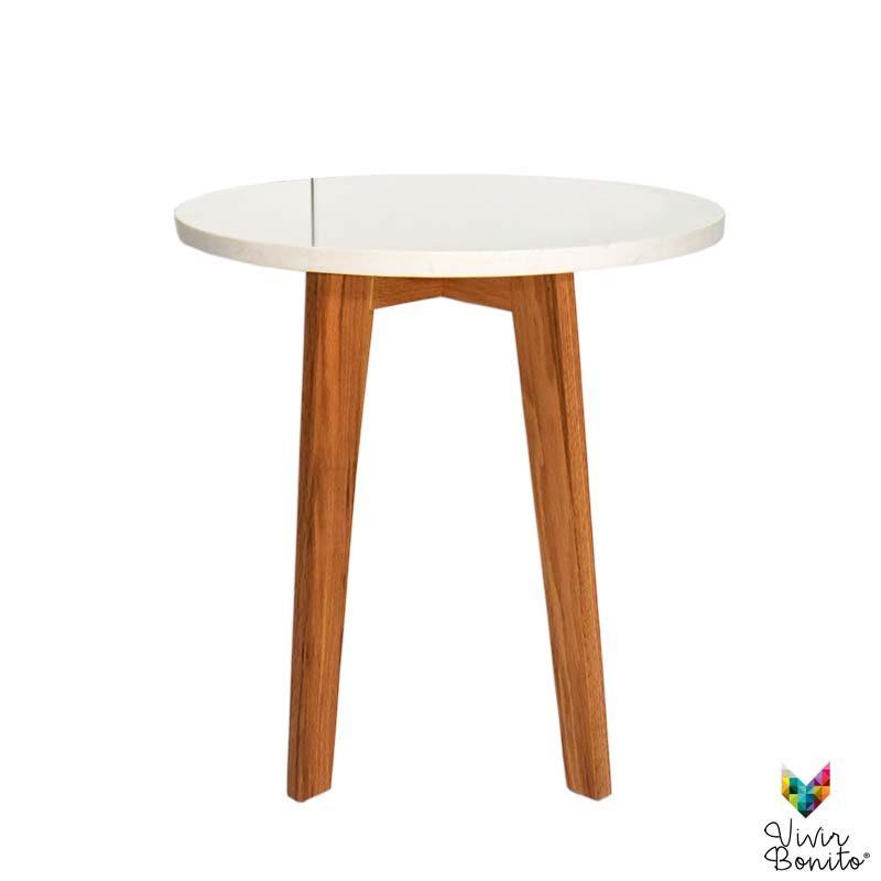mesa lateral Rosario Cuarzo Blanco