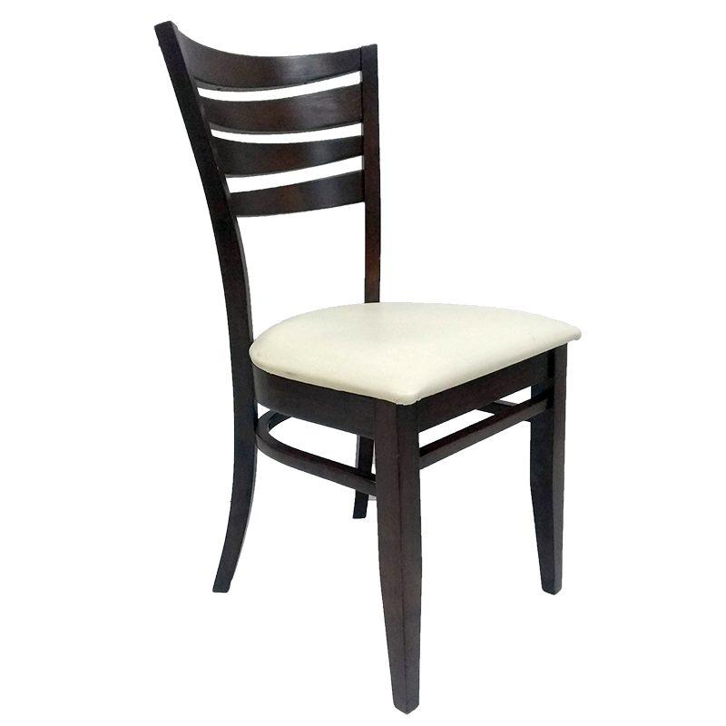 silla colyn madera asiento vinil nogal