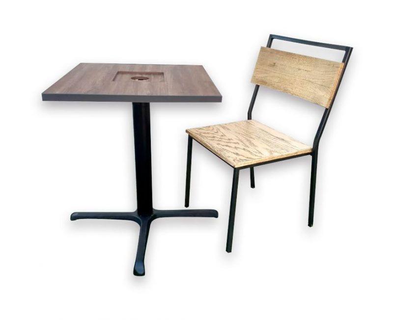 silla diseño industrial mezcla madera y metal