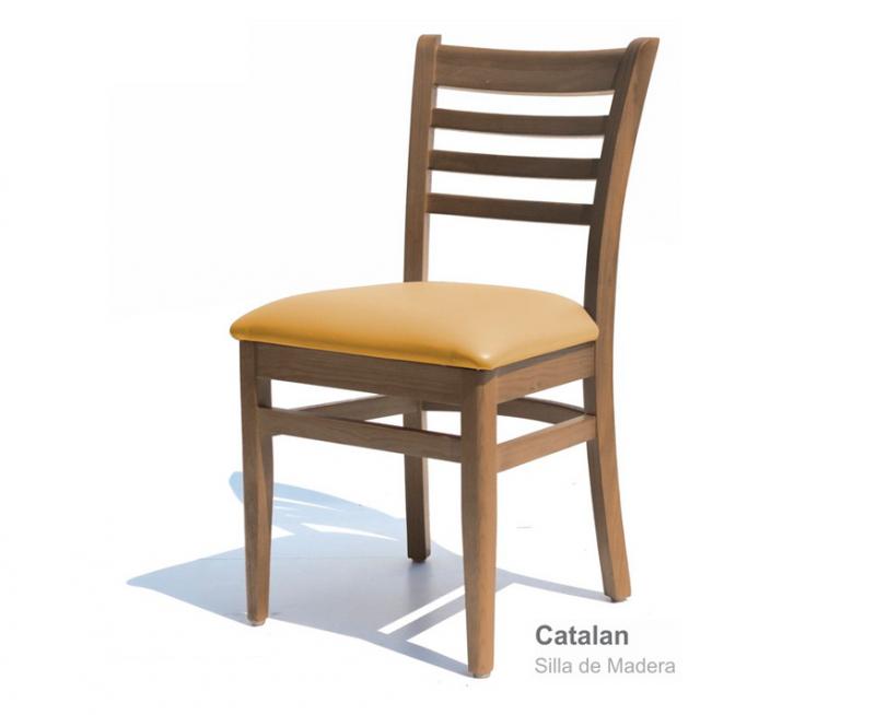 sillas para restaurantes de madera de pino color nogal vinyl beige