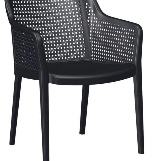 mesas-para-restaurantes-sillas-de-plastico-violeta-negra