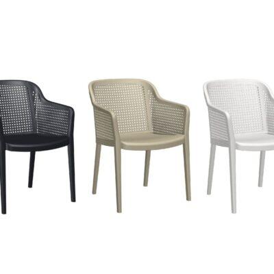 sillas de plástico violeto