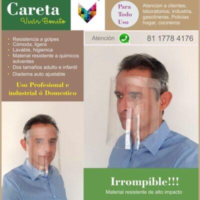 Careta protector facial irrompible