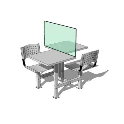 Mesa para comedor industrial con barrera sanitaria