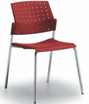 silla areta roja base gris