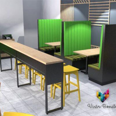 Booths y mesas para restaurantes